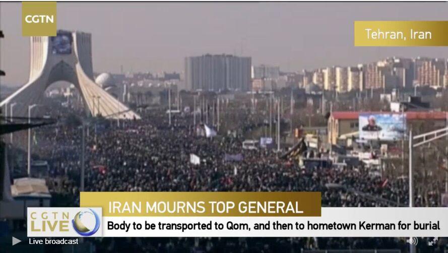 پخش زنده تشییع سردار سلیمانی در تهران از تلویزیون چین